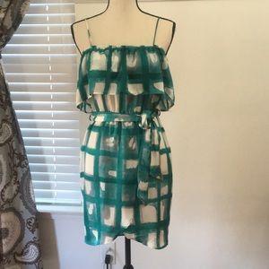 Shear ruffle top wrap dress